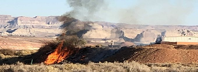 Page Fire Fighters Respond To a Fire on Highway 89